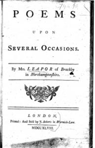 An essay on women mary leapor